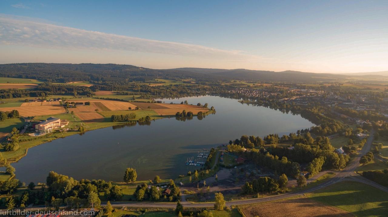 Weißenstadt, Weißenstädter See, Therme Siebenquell, Kurzentrum Weißenstadt, Luftbild, luftbilder-deutschland.com