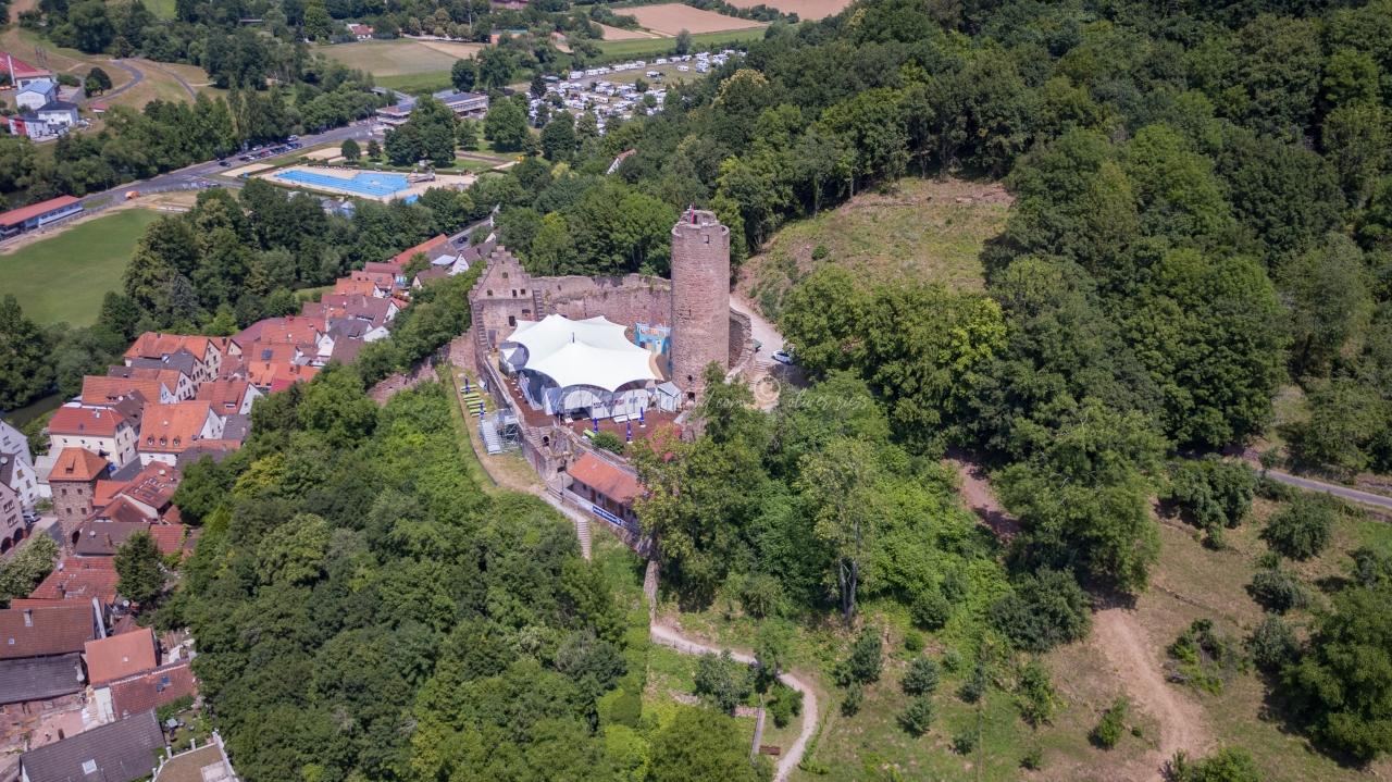 Luftbild Gemünden am Main, Luftbild Ruine Scherenburg, LuftbildFranken